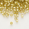 Seed bead, Delica®, glass, silver-lined frosted yellow-green, (DB687), #11 round. Sold per 50-gram pkg.