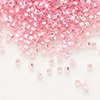 Seed bead, Delica®, glass, silver-lined light rose, (DB1335), #11 round. Sold per 7.5-gram pkg.
