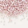 Seed bead, Delica®, glass, silver-lined opal baby pink, (DB624), #11 round. Sold per 7.5-gram pkg.