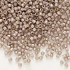Seed bead, Delica®, glass, silver-lined opal dark brown, (DB1460), #11 round. Sold per pkg of 50 grams.
