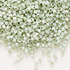Seed bead, Delica®, glass, silver-lined opal sea green, (DB1454), #11 round. Sold per pkg of 7.5 grams.