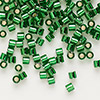 Seed bead, Delica®, glass, silver-lined transparent green, (DBL46), #8 round, 1.5mm hole. Sold per pkg of 7.5 grams.