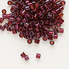 Seed bead, Delica®, glass, transparent luster gold dark red, (DBL105), #8 round. Sold per 50-gram pkg.