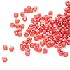 Seed bead, Delica®, glass, transparent matte rainbow fire light red, (DB856), #11 round. Sold per pkg of 50 grams.