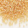 Seed bead, Delica®, glass, transparent matte rainbow khaki, (DB852), #11 round. Sold per pkg of 50 grams.