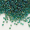 Seed bead, Delica®, glass, transparent rainbow lime, (DB175), #11 round. Sold per pkg of 50 grams.