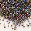 Seed bead, Delica®, glass, transparent rainbow silver brown, (DB180), #11 round. Sold per pkg of 50 grams.