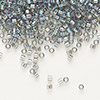 Seed bead, Delica®, glass, transparent rainbow silver grey, (DB179), #11 round. Sold per pkg of 50 grams.