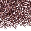 Seed bead, Delica®, glass, transparent silver-lined smoky amethyst purple, (DBL146), #8 round, 1.5mm hole. Sold per pkg of 50 grams.