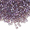 Seed bead, Delica®, glass, transparent smoky amethyst purple rainbow, (DBL173), #8 round, 1.5mm hole. Sold per 50-gram pkg.