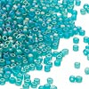 Seed bead, Dyna-Mites™, glass, frosted emerald green AB, #11 round. Sold per 1/2 kilogram pkg.