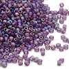 Seed bead, Dyna-Mites™, glass, frosted purple AB, #11 round. Sold per 1/2 kilogram pkg.