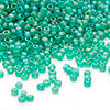 Seed bead, Dyna-Mites™, glass, frosted rainbow jade green, #11 round. Sold per 40-gram pkg.