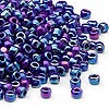 Seed bead, Dyna-Mites™, glass, opaque rainbow dark blue, #6 round. Sold per 40-gram pkg.