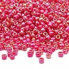 Seed bead, Dyna-Mites™, glass, rainbow opaque red, #8 round. Sold per 40-gram pkg.