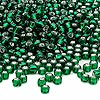 Seed bead, Dyna-Mites™, glass, silver-lined emerald green, #6 round. Sold per 1/2 kilogram pkg.