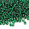 Seed bead, Dyna-Mites™, glass, silver-lined emerald green, #8 round. Sold per 1/2 kilogram pkg.