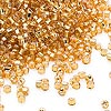 Seed bead, Dyna-Mites™, glass, silver-lined gold, #11 round with square hole. Sold per 1/2 kilogram pkg.