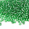Seed bead, Dyna-Mites™, glass, silver-lined green, #8 round. Sold per 1/2 kilogram pkg.