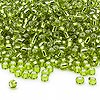 Seed bead, Dyna-Mites™, glass, silver-lined light green, #8 round. Sold per 40-gram pkg.
