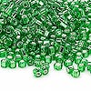 Seed bead, Dyna-Mites™, glass, silver-lined lime, #6 round with square hole. Sold per 1/2 kilogram pkg.