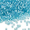 Seed bead, Dyna-Mites™, glass, silver-lined matte light aqua, #11 round with square hole. Sold per 40-gram pkg.