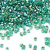 Seed bead, Dyna-Mites™, glass, silver-lined rainbow jade green, #11 round with square hole. Sold per 1/2 kilogram pkg.