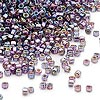 Seed bead, Dyna-Mites™, glass, silver-lined rainbow purple, #11 round with square hole. Sold per 1/2 kilogram pkg.