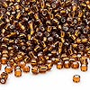 Seed bead, Dyna-Mites™, glass, silver-lined root beer, #8 round. Sold per 40-gram pkg.