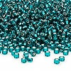 Seed bead, Dyna-Mites™, glass, silver-lined teal blue, #8 round. Sold per 40-gram pkg.