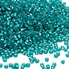 Seed bead, Dyna-Mites™, glass, silver-lined teal blue matte, #11 round with square hole. Sold per 1/2 kilogram pkg.