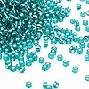 Seed bead, Dyna-Mites™, glass, silver-lined transparent teal, #11 round. Sold per 1/2 kilogram pkg.