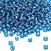 Seed bead, Dyna-Mites™, glass, silver-lined turquoise blue, #8 round. Sold per 40-gram pkg.
