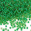 Seed bead, Dyna-Mites™, glass, transparent inside color lime green/yellow, #11 round. Sold per 40-gram pkg.