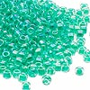 Seed bead, Dyna-Mites™, glass, transparent rainbow inside color emerald green, #6 round. Sold per 1/2 kilogram pkg.