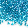 Seed bead, Dyna-Mites™, glass, transparent rainbow inside teal, #6 round. Sold per 40-gram pkg.