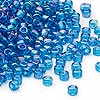 Seed bead, Dyna-Mites™, glass, transparent rainbow teal, #6 round. Sold per 1/2 kilogram pkg.
