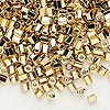 Seed bead, Dyna-Mites™, gold-finished glass, #6 small hex. Sold per 1/2 kilogram pkg.