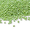 Seed bead, Ming Tree™, glass, opaque luster lime green, #11 round. Sold per pkg of 1 pound.