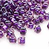 Seed bead, Miyuki, glass, amber yellow color-lined purple, (#1835), #5 triangle. Sold per 250-gram pkg.