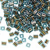 Seed bead, Miyuki, glass, blue color-lined brown, (SB2642), 3.5-3.7mm square. Sold per 250-gram pkg.