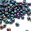 Seed bead, Miyuki, glass, gunmetal mixed blue, (DP455), 4x3.4mm fringe. Sold per 250-gram pkg.