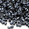 Seed bead, Miyuki, glass, metallic black, (#611), #11 hex 2-cut. Sold per pkg of 250 grams.