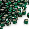 Seed bead, Miyuki, glass, silver-lined dark green, (TR1806), #5 triangle. Sold per 25-gram pkg.