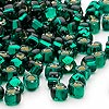 Seed bead, Miyuki, glass, silver-lined green, (#1807), #5 triangle. Sold per 250-gram pkg.