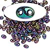 Seed bead, Preciosa Twin™, glass, iris rose, 5x2.5mm oval with 2 holes. Sold per 10-gram pkg.