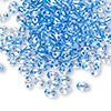Seed bead, Preciosa Twin™, glass, sea blue-lined clear terra, 5x2.5mm oval with 2 holes. Sold per 10-gram pkg.