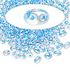 Seed bead, Preciosa Twin™, glass, sky blue-lined clear terra, 5x2.5mm oval with 2 holes. Sold per 50-gram pkg.