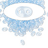 Seed bead, Preciosa Twin™, glass, transparent light blue terra pearl, 5x2.5mm oval with 2 holes. Sold per 50-gram pkg.