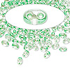 Seed bead, Preciosa® Twin™, glass, light green-lined clear terra, 5x2.5mm oval with 2 holes. Sold per 50-gram pkg.